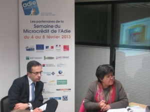 La présidente de l'Adie, Catherine Barbaroux, en compagnie du directeur des études de l'Adie, Thierry Racaud, présentaient la semaine de l'Adie à la presse, dans les locaux du bd Sébastopol, lundi 28 janvier 2013.